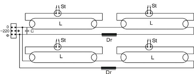 Схема подключения люминесцентных светильников на 4 лампы